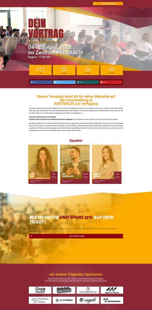 Erstelle deine eigene Event Webseite mit unseren Vorlagen für Vorträge